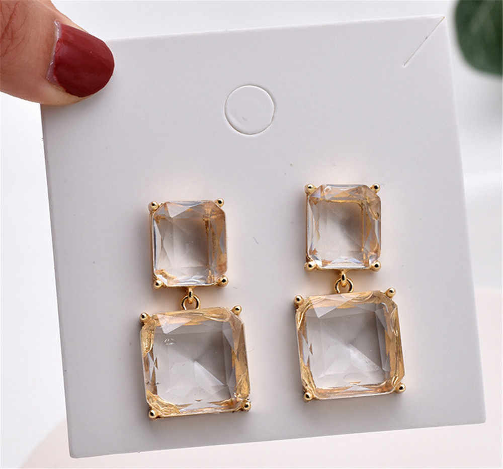 Korean New Design Fashion Jewelry Double Square Earrings Luxury Transparent Glass Crystal Party Earrings for women gift