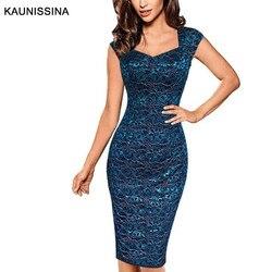 KAUNISSINA женское элегантное кружевное коктейльное платье без рукавов тонкое сексуальное с v-образным вырезом облегающее Клубное платье-каран...
