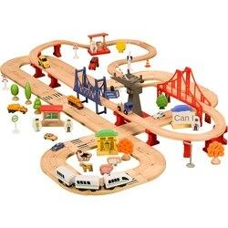 Железная дорога двойной деревянный поезд трек игрушка набор детский трек игрушка совместима с деревянными железнодорожными дорожками и эл...