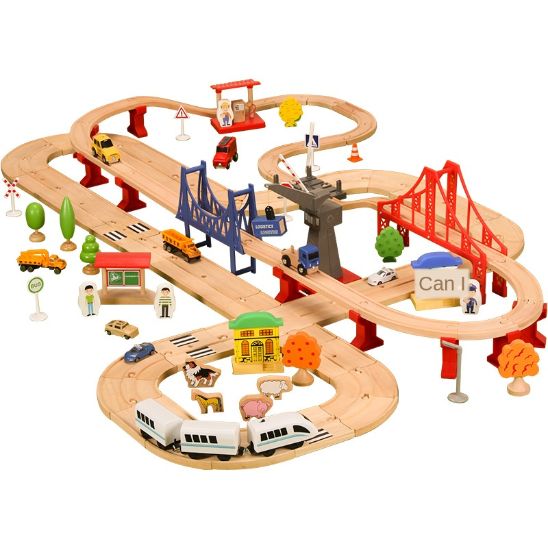 Road Railway Train Track Toy Set Double Wooden Compatible With Wooden Cars 1:64 > 3 Years Old Wood Certificate 3C Pd32