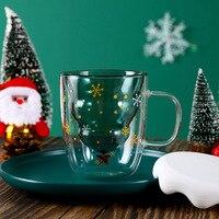 300ML doppio strato vetro antiscottatura albero di natale cielo stellato tazza da caffè isolamento termico colazione tazza da latte regalo per bambini