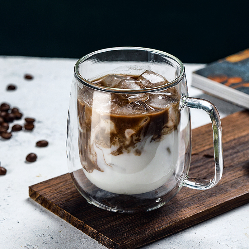 Двухслойная стеклянная кофейная чашка из боросиликатного стекла с ручной чашкой эспрессо стеклянная чашка для горячего молока стеклянная посуда стакан чашки|Кружки| | АлиЭкспресс