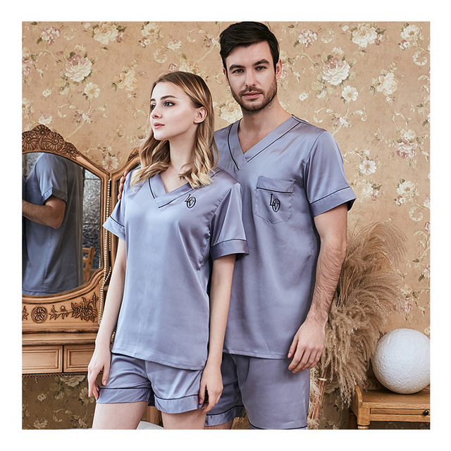 Men Women Pajamas Set Soft Imitation Silk Print Shirt Pants Couple Sleepwear Pajama Sets Unisex Pyjamas Sleepwear