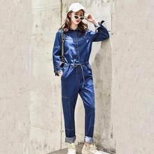 Blue BF Streetwear Denim Jumpsuit Pants For Women 2020 Bodycon Long Sleeve High Waist Jeans Overalls Female Romper AE208(China)