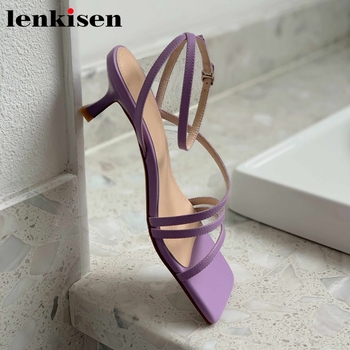 Lenkisen western style nature leather mixed colors big square toe high strenge heels cozy modern ankle buckle straps sandals L83