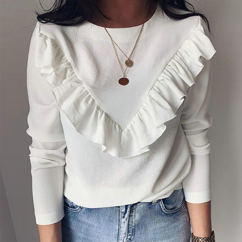 Long Sleeve Elegant Women Blouses 2019 Lady Office Work Ruffles O-Neck Khaki Shirts Tops White Black Autumn Winter Blusas(China)