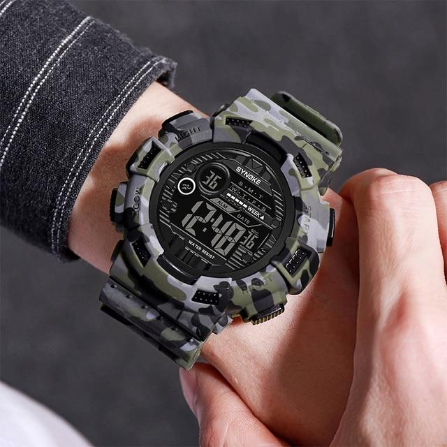 SYNOKE Brand Digital Wristwatches Mens Waterproof Cowboy Clock Stepwatch Sport Shock Military Wrist watch relogio masculino 9629
