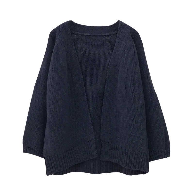 Повседневный свитер с открытой строчкой, однотонная трикотажная одежда, женский кардиган, Женский 2019 новый корейский свободный свитер, Женское пальто 6341 95