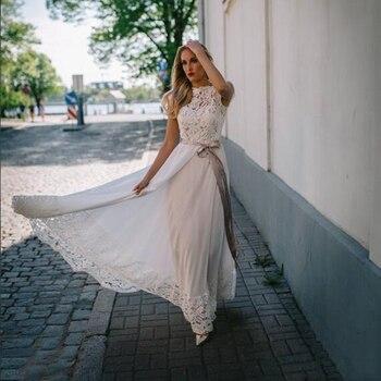 Bohemian Wedding Dress Chiffon Top Lace Wedding Gowns Ivory Open Back Bridal Dress with Belt gown bridal vestido de noiva purple lace details open back halter pajama dress with t back
