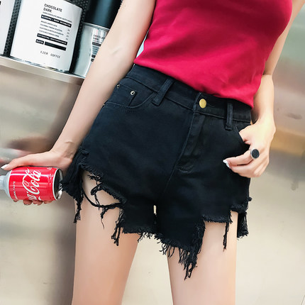 New Fashion Women Vintage Ripped Summer High Waisted Denim Shorts Jeans Zipper Pocket Hole Red Black Shorts Tops LX1721