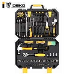 DEKO TZ128 herramienta llave reparación Auto mezclado Paquete de combinación de herramienta de mano Kit con caja de herramientas de plástico caja de almacenamiento