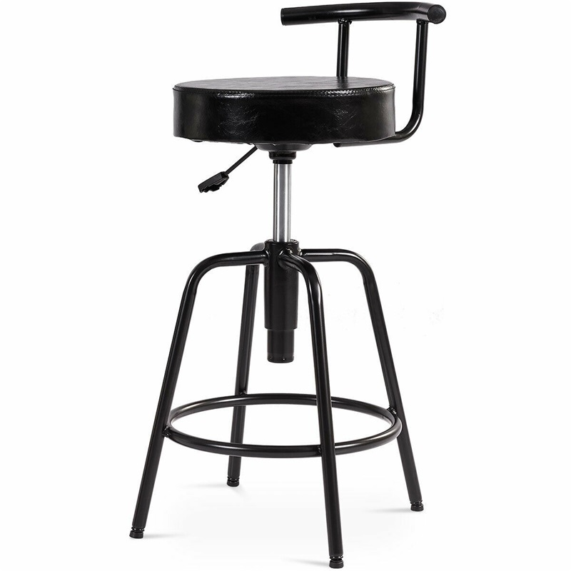 Height Adjustable Swivel Vintage Bar Stool PU Leather Steel Frame Chairs For Home Commercial HW61046