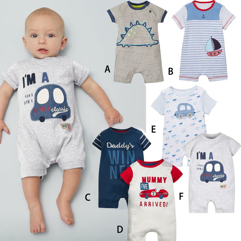 Summer Cute Dinosaur Printed Baby Rompers Cotton Baby Girls Clothes Boys 3 6 9 12 Months Infant Jumpsuit Clothing For Baby
