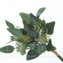 Artificial Flower Simulation Green Oval Eucalyptus With Fruit Fork Grass Plant Wall Hanging Plants Home Wedding Shop Decoration