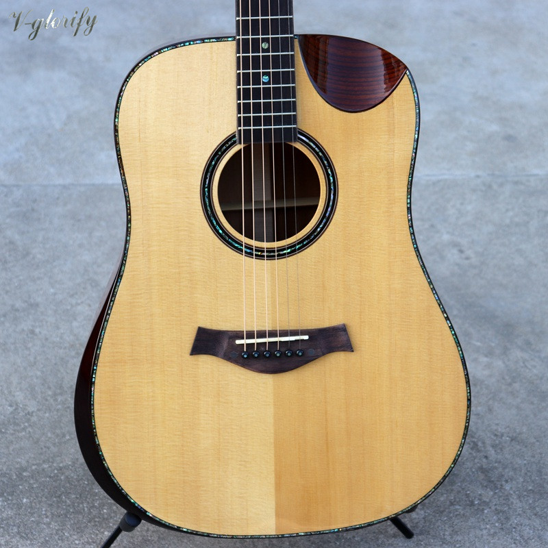 spruce solid wood top acoustic-electric guitar with radian corner 41 inch full shell binding professional acoustic guitar image