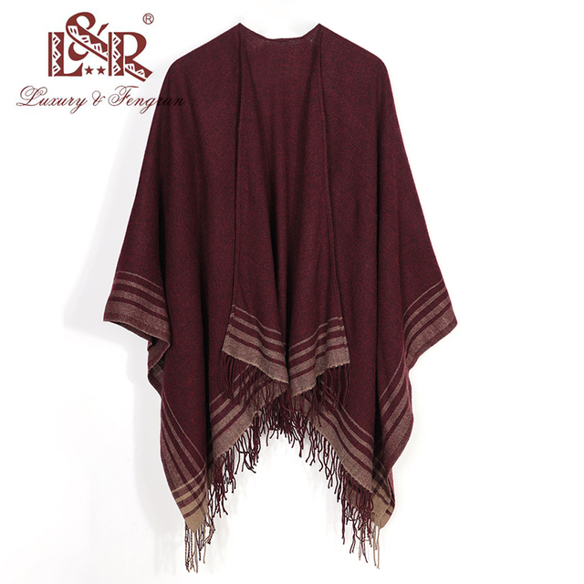 2020 Cashmere Winter Warm Ponchos And Capes For Women Foulard Femme Shawls and Wraps Stripped Pashmina Female Bufanda Mujer 4
