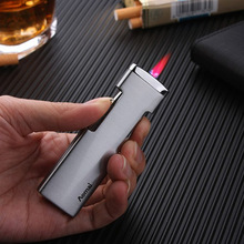 Ultra Thin Jet Torch Turbo Lighter Gas Compact Pipe Lighter Strip Windproof Red Fire Metal Cigar Lighter 1300 C Butane No Gas multifunction zinc alloy butane gas screwdriver lighter red yellow