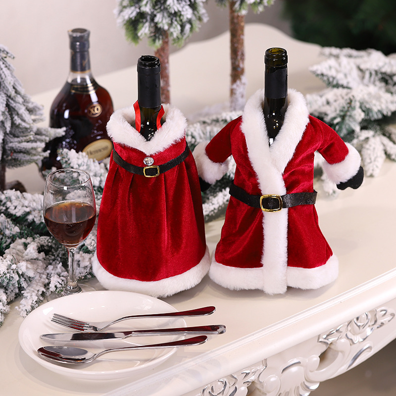 1pc Christmas Red Wine Bottle Covers Santa Claus Coat Dress Style Champagne Cover for Xmas Home Party Dinner Table Decoration