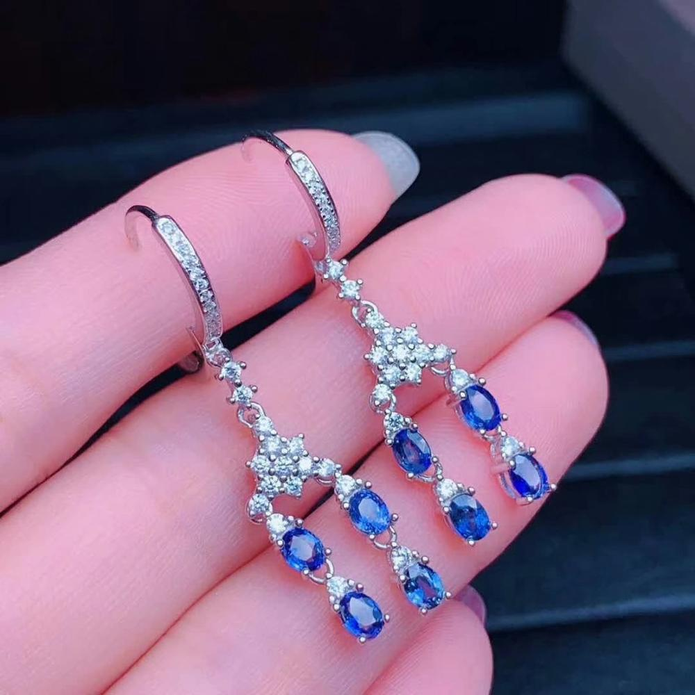 shilovem 925 silver sterling real Natural sapphire stud earrings fine Jewelry party  trendy new party plant 3*4mm  de0304819agl