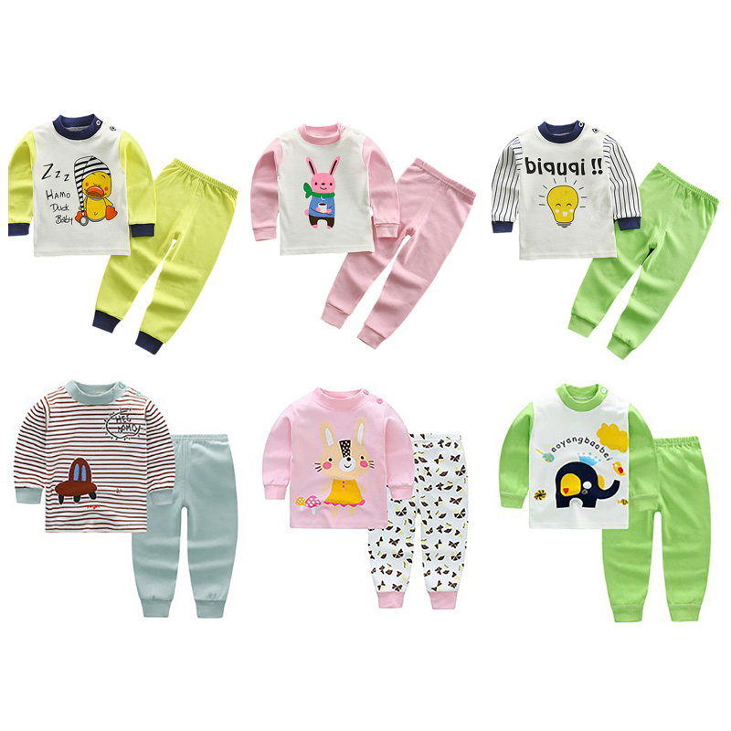 Spring Autumn Baby Kids Boys Girls Long Sleeve Cartoon Printed   Pajamas     Sets   Cute Cotton Comfortable Blouse Tops+Trousers   Pajamas
