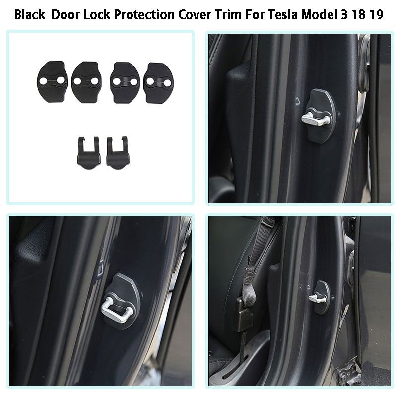 For Tesla Model 3 18 19 Car 4 Doors Lock Protection Cover Trim Black Color 6Pcs