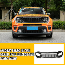1x angry bird estilo grill para jeep renegado 2015-2020 atualizar entrada de ar preto fosco abs amortecedor dianteiro superior capa protetor