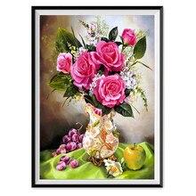5D DIY diamante pintura rosa florero redondo mosaico de jarras decoración del hogar y decoración de pared hecha a mano