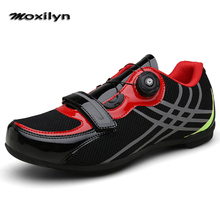 цена на Men Breathable Pro Self-Locking Cycling Shoes Road Bike Bicycle Shoes Ultralight Athletic Racing Sneakers Zapatos Ciclismo