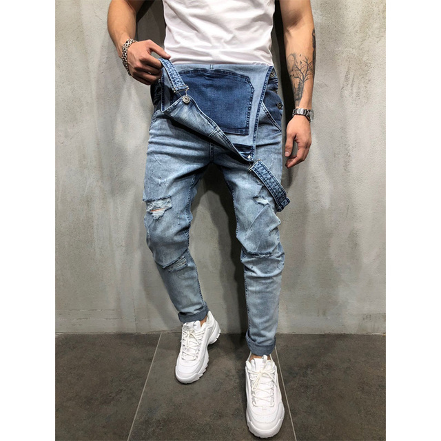 Fashion Men Pants Ripped Jeans Overalls Jumpsuits Hi Street Distressed Denim Bib Overalls For Man Suspender Pants Size S-XXXL 1