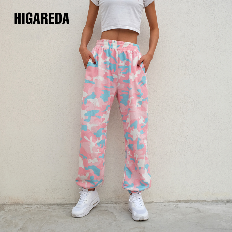 HIGAREDA 2020 Women Brand Pantalon Femme Pink Camouflage Sweatpants Knitted Workout Trousers Casual Loose Lady Pants Jogger