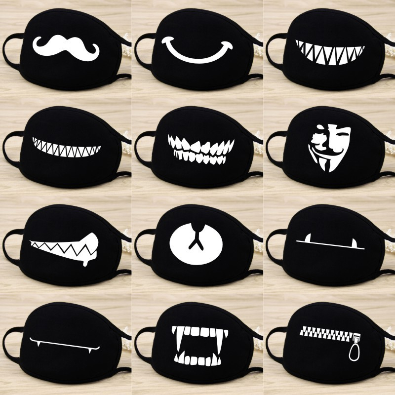 Adult Unisex Anti-Dust Cotton Mouth Face Mask Half Masks Outdoor Cycling Black