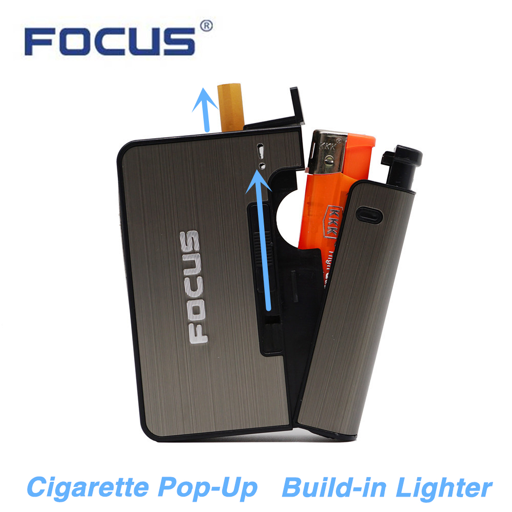 FOCUS Metal Cigarette Case Box with Lighter Hold 6pcs 80mm Cigarette Capacity Tobacco Storage Holder Container for Mens Gift