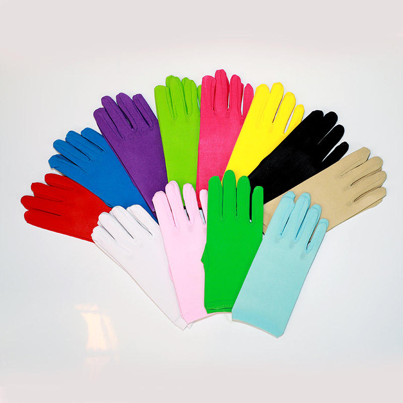 Classic Women Formal Bridal Spandex Banquet Party Wedding Short Colorful Gloves Ballroom Formal Banquet Dress Glove Ucuz