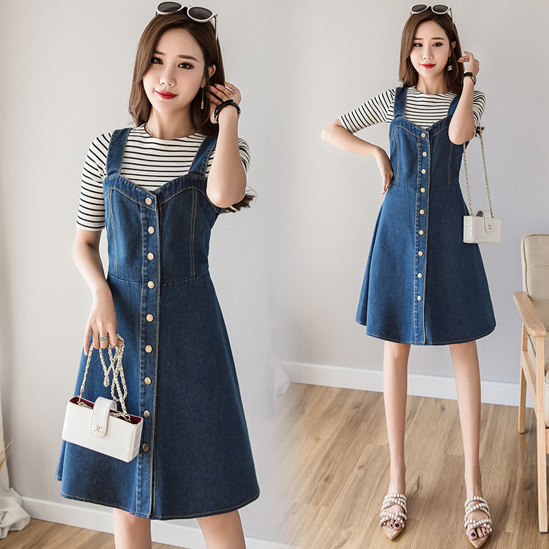 Photo Shoot Single Breasted Computer Cable Lock Women's 2019 Spring New Style Slim Fit Slimming Waist Hugging Strap Dress Summer