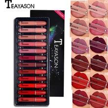 купить 12pcs/lot TEAYASON Lips Makeup Set Velvet Matte Lip Gloss Pigment Nude Red Liquid Lipstick Long Lasting Waterproof Lip Tint дешево