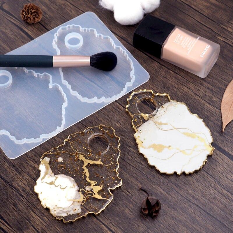 DIY crystal epoxy resin makeup tray makeup dish irregular agate mirror epoxy resin silicone mold decoration crafts