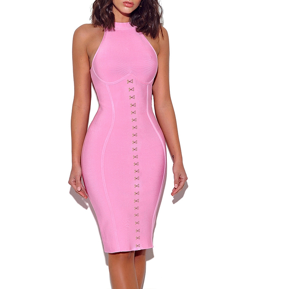 Deer Lady Bandage Dress 2019 Summer Women Bodycon Bandage Evening Party Dress Pink Sleeveless Sexy Button Pencil Dress