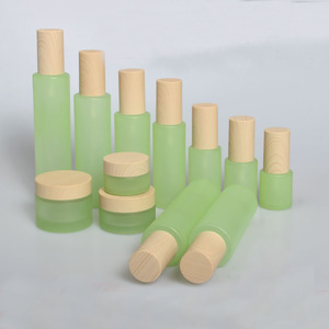 2/8pcs 20/30/50g Green Glass DIY Cream Jar Pot Set 20/30/40/60/80/100/120ml Empty Toner Sprayer/Lotion Press Pump Bottle ABS Cap(China)
