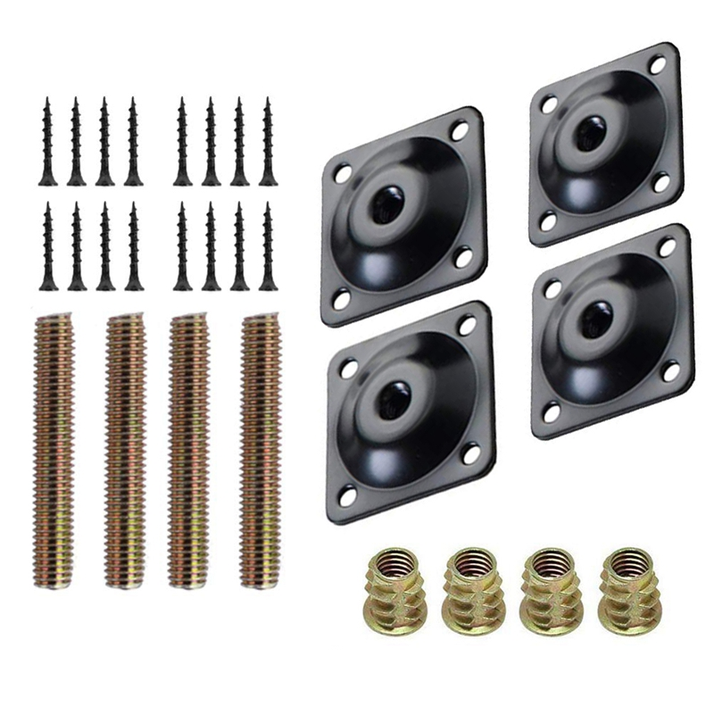 4Pcs/Set Furniture Leg Mounting Plates Sofa Leg Attachment Plates M8 Hanger Bolts Screws Adapters Metal Plates Bracket Kit For S