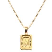 Collar con colgante de A-Z del alfabeto inglés de marca, collares largos con letras iniciales para mujeres y hombres, gargantilla de regalo, joyería de moda