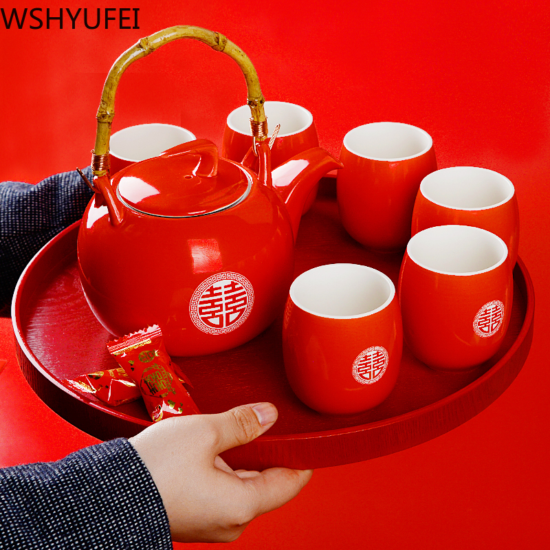 Wshyufei Ceramic Red Wedding Teapot Gifts Porcelain Chinese Style Wedding Tea Set Porcelain Teapot Set Filter Luxury Gift Teaware Sets Aliexpress