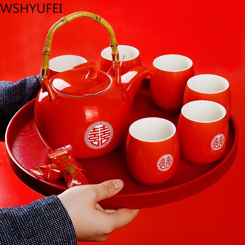 WSHYUFEI Ceramic Red Wedding Teapot Gifts Porcelain Chinese Style Wedding Tea Set Porcelain Teapot Set Filter Luxury Gift