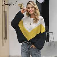Simplee Contrast knitted sweater Women winter 2018 batwing sleeve pullover and sweaters Plus size loose casual female jumpers