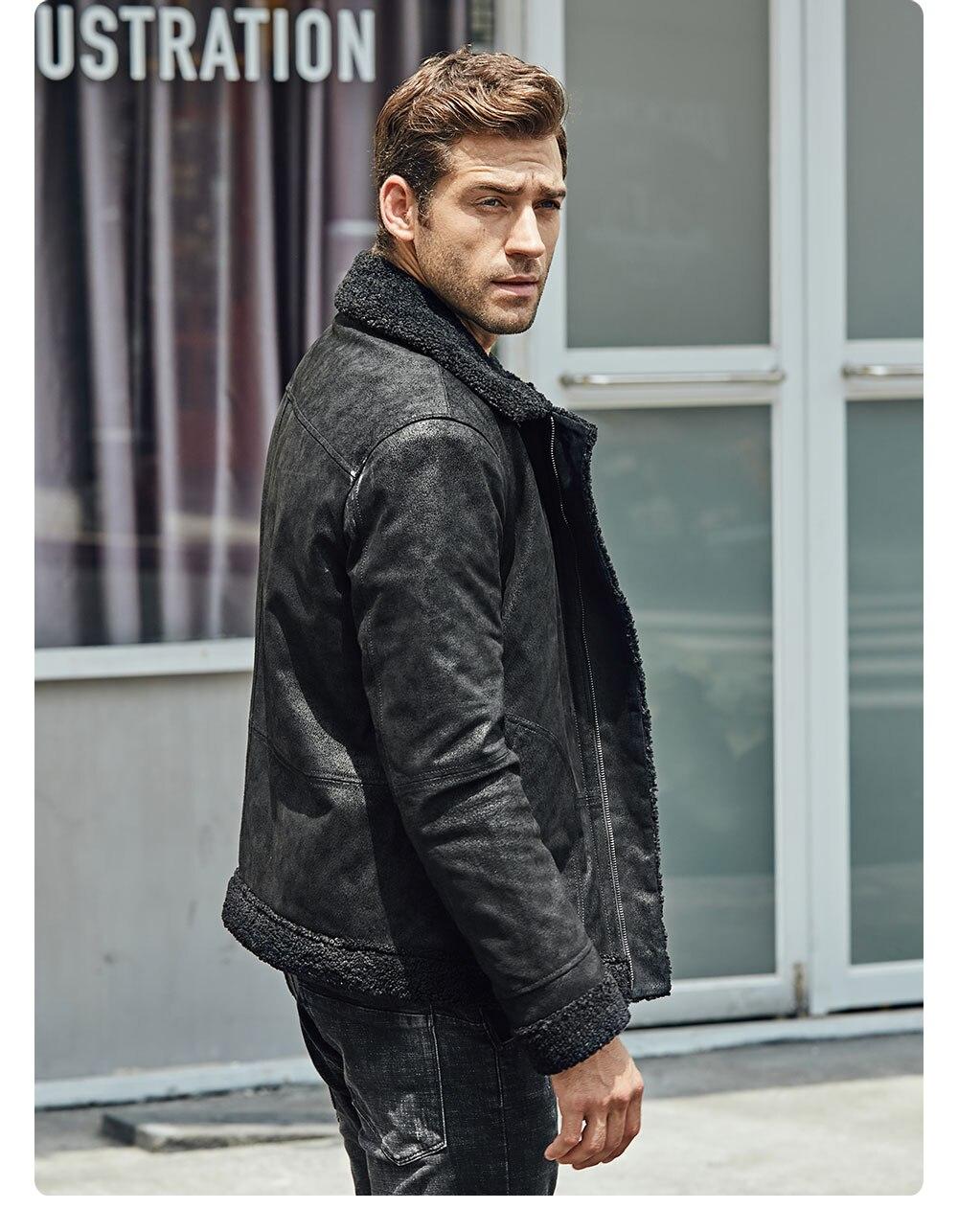 Hed5879fc7f55487395a765da1f021c4fN New Men's Real Leather Jacket Faux Fur Collar Genuine Leather Jacket