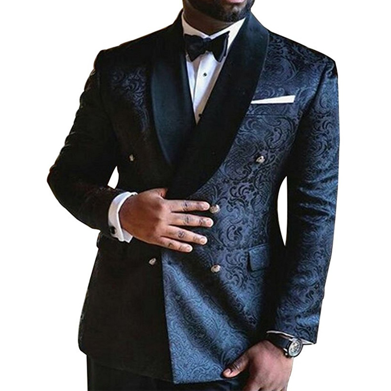 waistcoat Double-Breasted Jacquard Mens Slim Suit 2 Sets