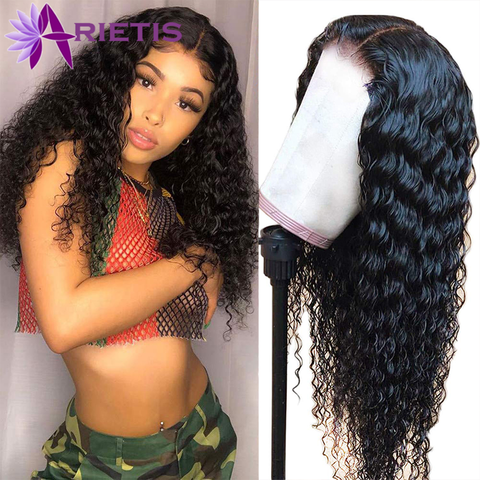 Arietis Hair 13X4 Lace Front Wig Deep Wave Wig Brazilian Hair Lace Frontal Wig 100% Remy Human Hair Wigs For Women 10-24 Inch