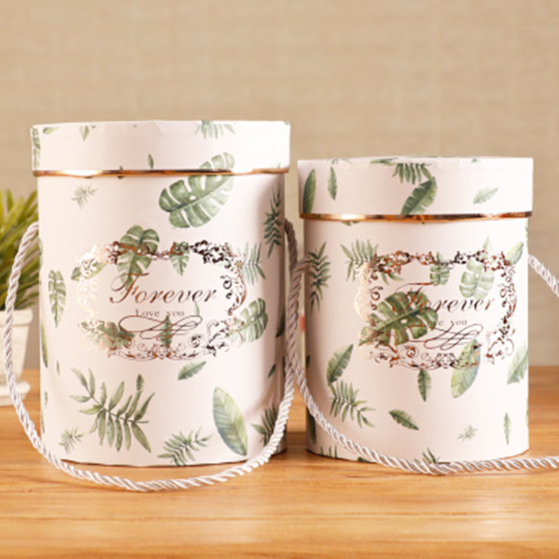 New Round Dried Flower Hug Bucket Flower Paper Packaging Boxes Festival Souvenir Gift Box Candy Bar Party Wedding Storage Box