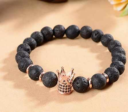 8mm xty453 gold silver elastic adjusted nature black stone volcanic lava micro pave cz zircon cubic zirconia crown Bracelet