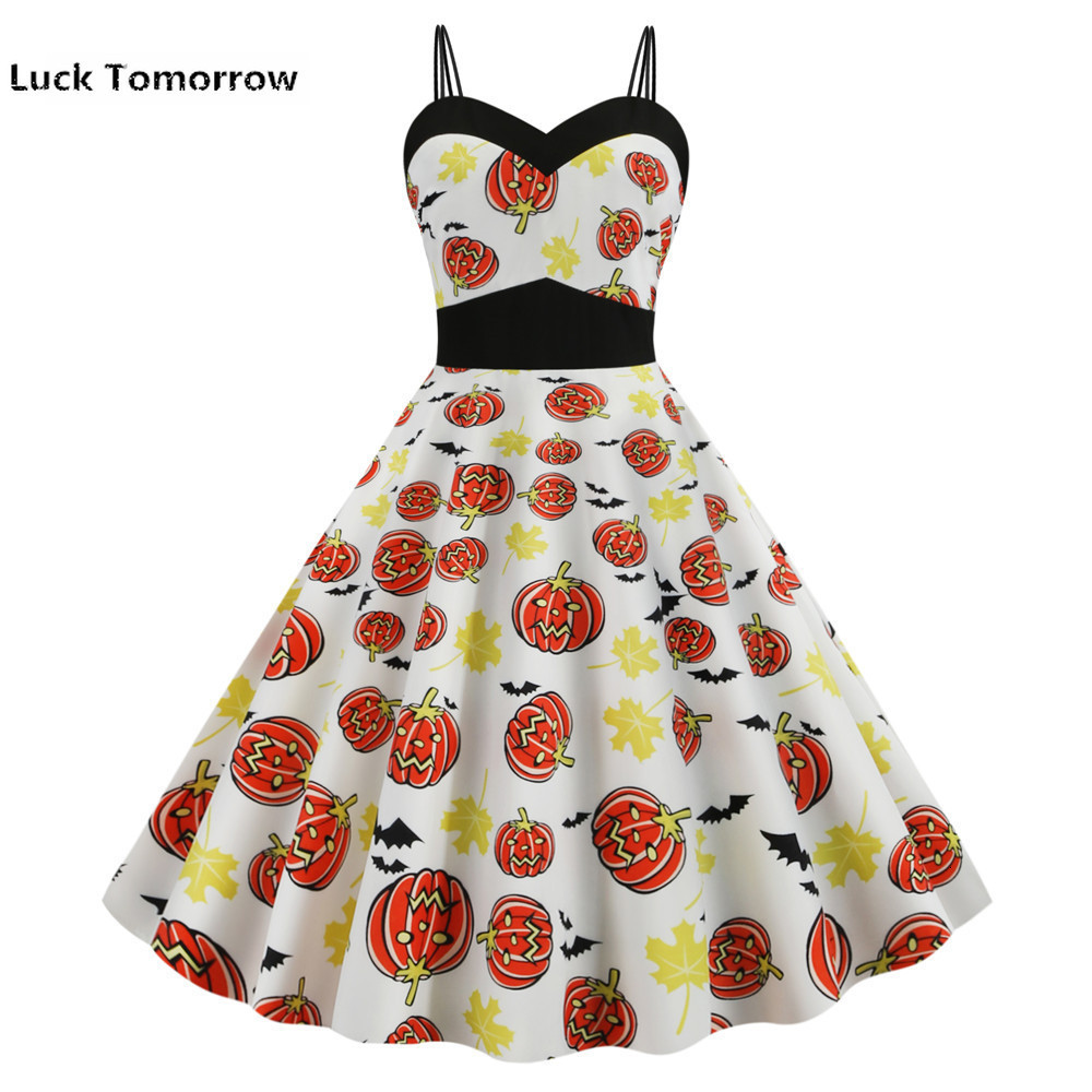 <font><b>Halloween</b></font> Skull Print <font><b>Gothic</b></font> Dress 2019 Strapless Summer <font><b>Women</b></font> Vintage Pinup Rockabilly Party <font><b>Sexy</b></font> Backless Dresses Knee Length image