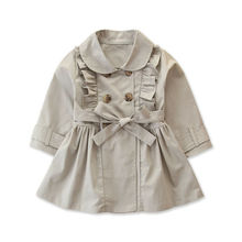 Toddlers Baby Kids Girl Ruffle Trench Casual Autumn Windbreaker Coat Double Brea